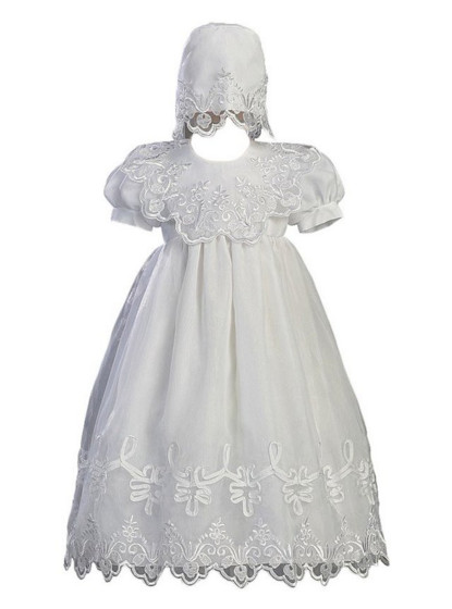 2016 New Baby Infant White Ivory Christening Dress Baptism Gown Baby Girl Boy Lace Satin WITH BONNET 0-24month