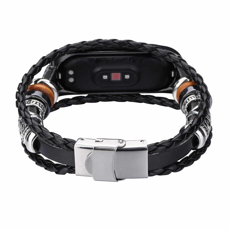 HIPERDEAL Smart Accessories Fashion Leather Beading Bracelet Strap Weave Braided Watch Band Replacement For Xiaomi Mi Band 4