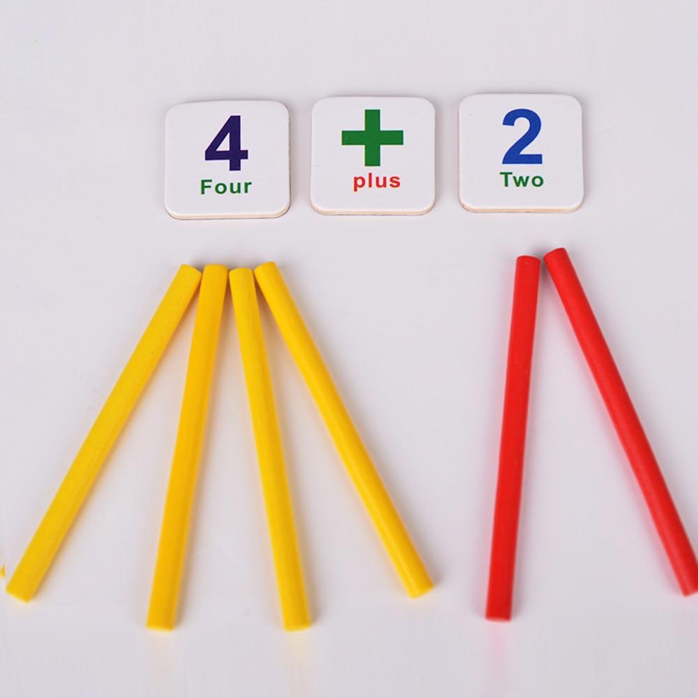Kids Lærredskab Legetøj Træstænger Køleskabmagnet Matematik Spiloptælling Uddannelsesindlæringsværktøj Børn Træ Legetøj