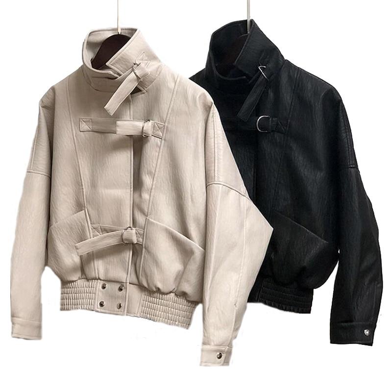 Autumn Spring Black Beige   Leather   Jacket Europe Loose PU Jacket Harajuku BF Coat Female Turn-down Collar Faux   Leather   Basic Coat