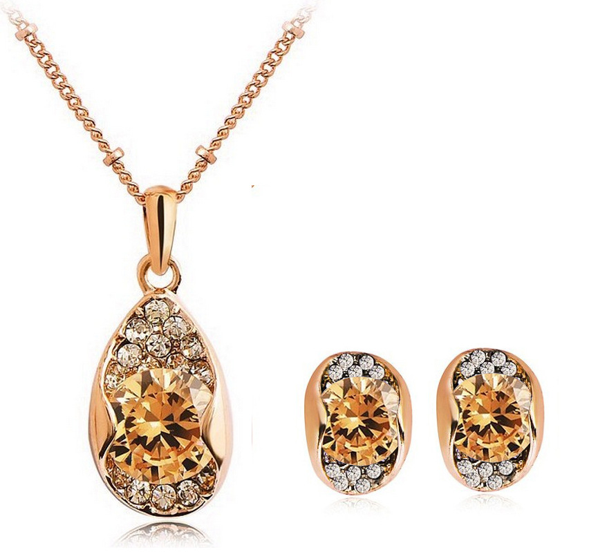 Top Quality Rose gold-color Silver Made with Austria Crystal CZ Rhinestone Necklace/Earring Jewelry sets