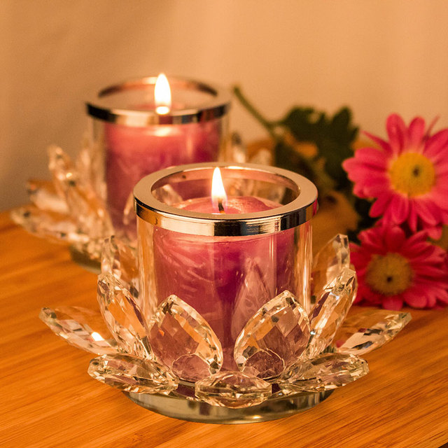 H&D 2pcs Crystal Lotus Candle Holders, Tealight Holders for Home ...