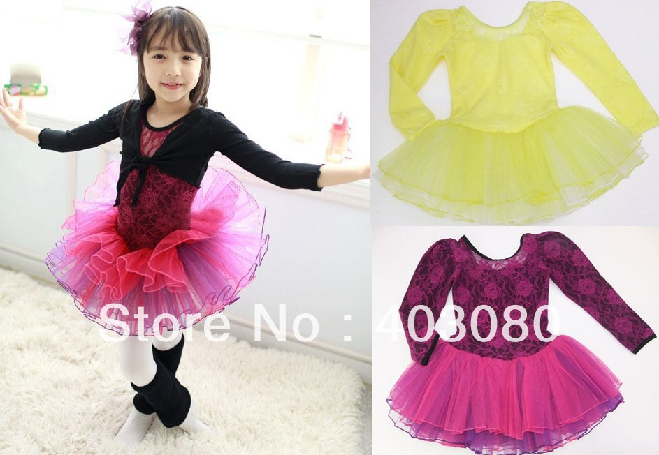 Fast shipping wholesale 4-8 years Korea yellow Long sleeve Children's ballet skirt,girls braces skirt dancing dress