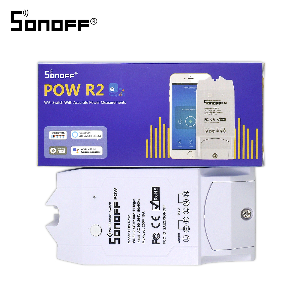 Sonoff Pow R2 16A/3500W Smart Wifi Switch Controller With Real Time Power Consumption Measurement Smart Home Device With Android