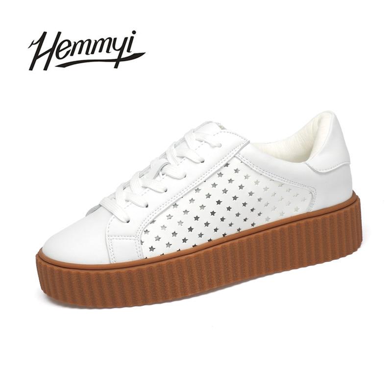 Hemmyi 2017 New Genuine Leather Women Shoes Fashion Breathable Top Quality Casual Superstar Shoe Basket Femme Ete Tenis Feminino