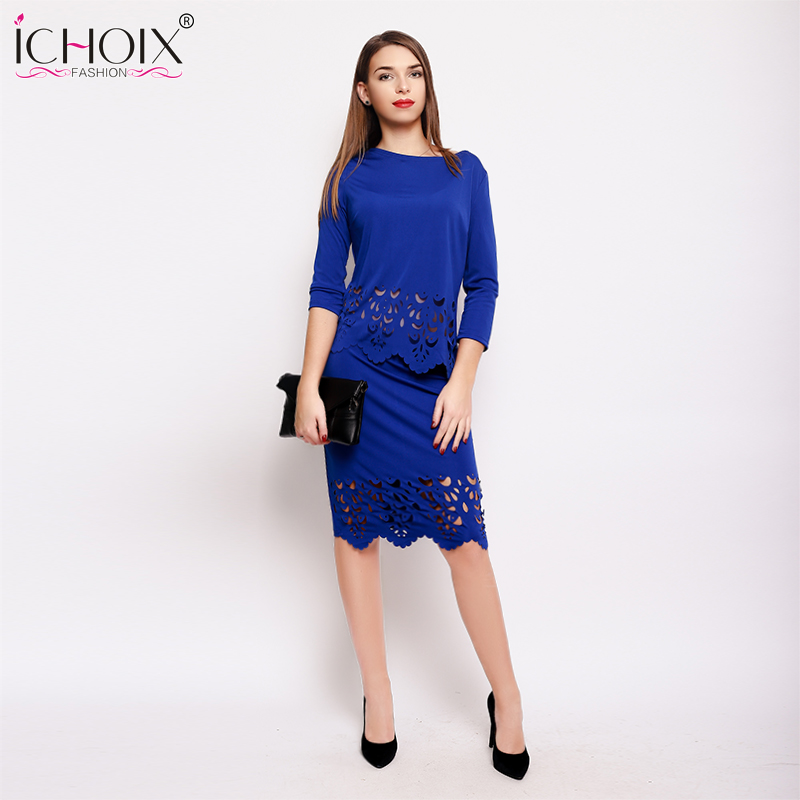5e5ad19ba8ee7 Detail Feedback Questions about Elegant Sexy 2 piece Set Summer Autumn Women  Dresses Big Size New 2018 Plus Size Women 3XL Dress Hollow Out Casual  Bodycon ...