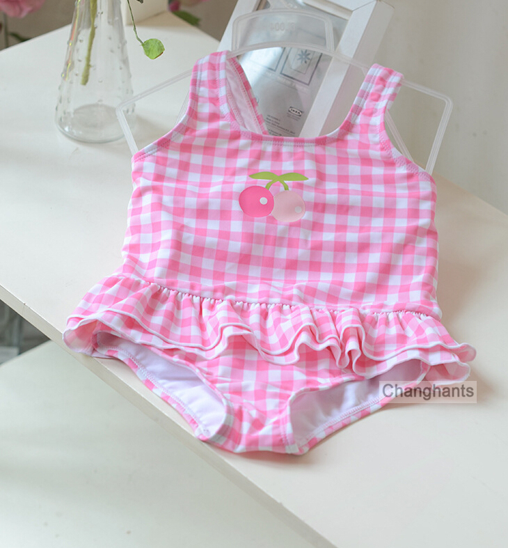 Kids Baby Girls Swimwear Pink plaids 2-6 Years One Piece Swimsuit Children Swimsuit Summer Beach Swimming Wear Bathing suit