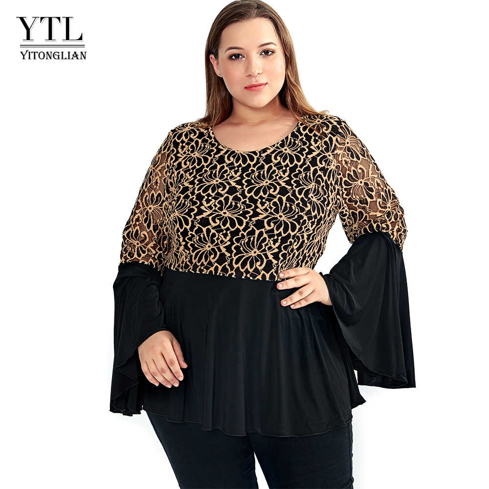 674013a95a3a6 YTL Women Plus Size Tunic Retro Gold Lace Top V Neck Patchwork Flare Sleeve  Blouse Spring