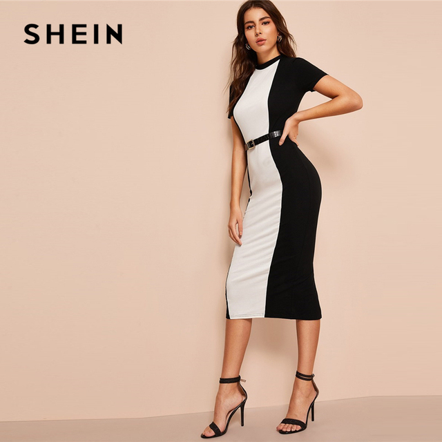 SHEIN Black and White Colorblock Bodycon Pencil Midi Dress Without Belt Women Stand Collar Weekend Casual Long Sheath Dress 2