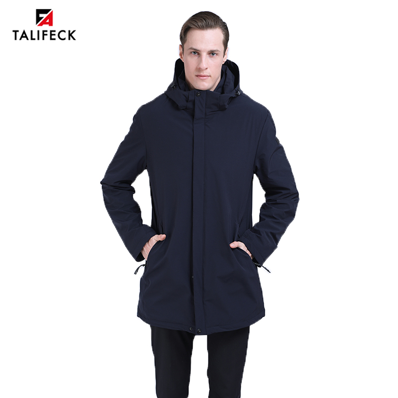 2019 Men Spring Autumn Jacket Trench Coat Parka Bussiness Long Casual Padded Windbreaker Solid