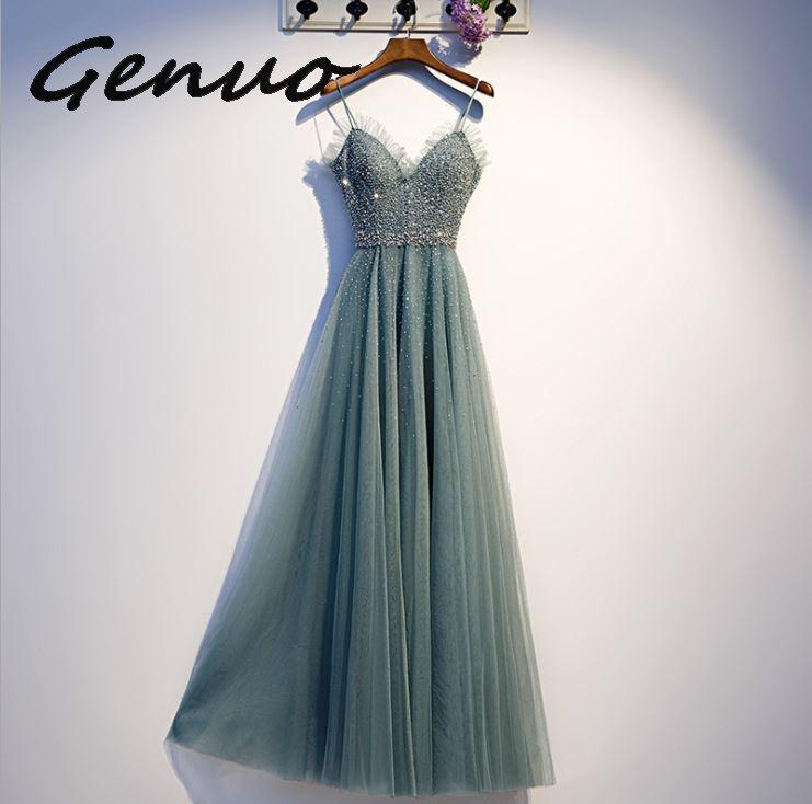 Véritable 2019 femmes robe d'été formelle Sexy col en v Sequin longue robe de soirée dame élégante demoiselle d'honneur balle Gwon Maxi robe sans ceinture