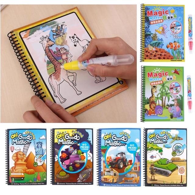 Libro de dibujo de agua mágica para colorear con pluma bebé juguete educativo animales pintura escritura Doodle libro de tela niños tablero de dibujo