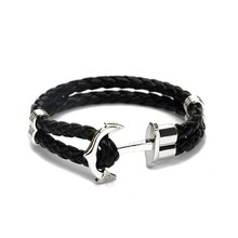 Gold Or Silver Anchor With Black Braided Leather Bracelet