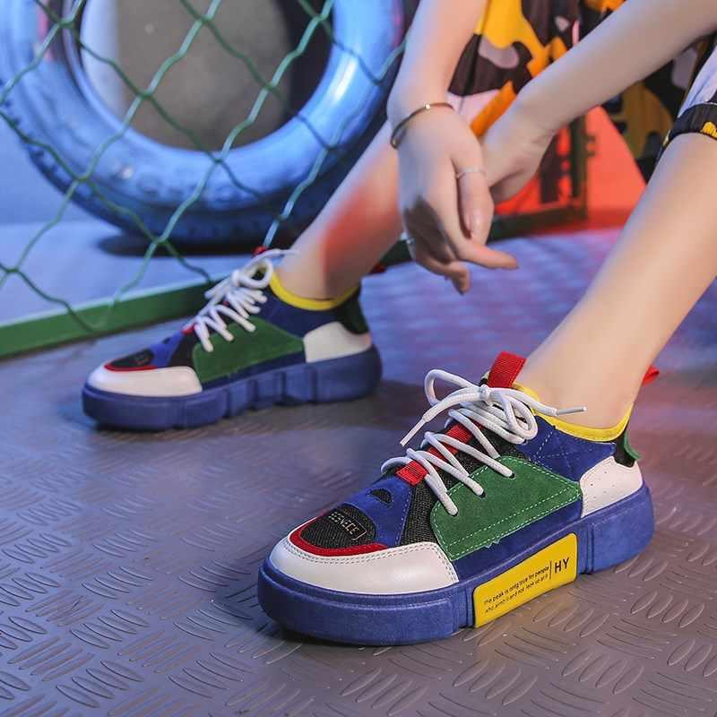 008467c4c Женщина вулканическая обувь на платформе осень 2018 дышащие кроссовки Женская  обувь Цвет блок толстая подошва женская