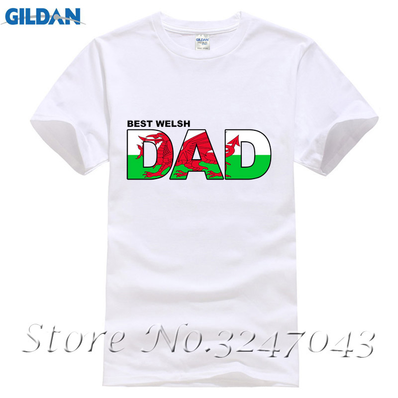 Best Welsh Dad Wales Fathers Day Gift Patriotic Birthday Christmas Mens T-Shirt Men T-Shirt Cotton 100%