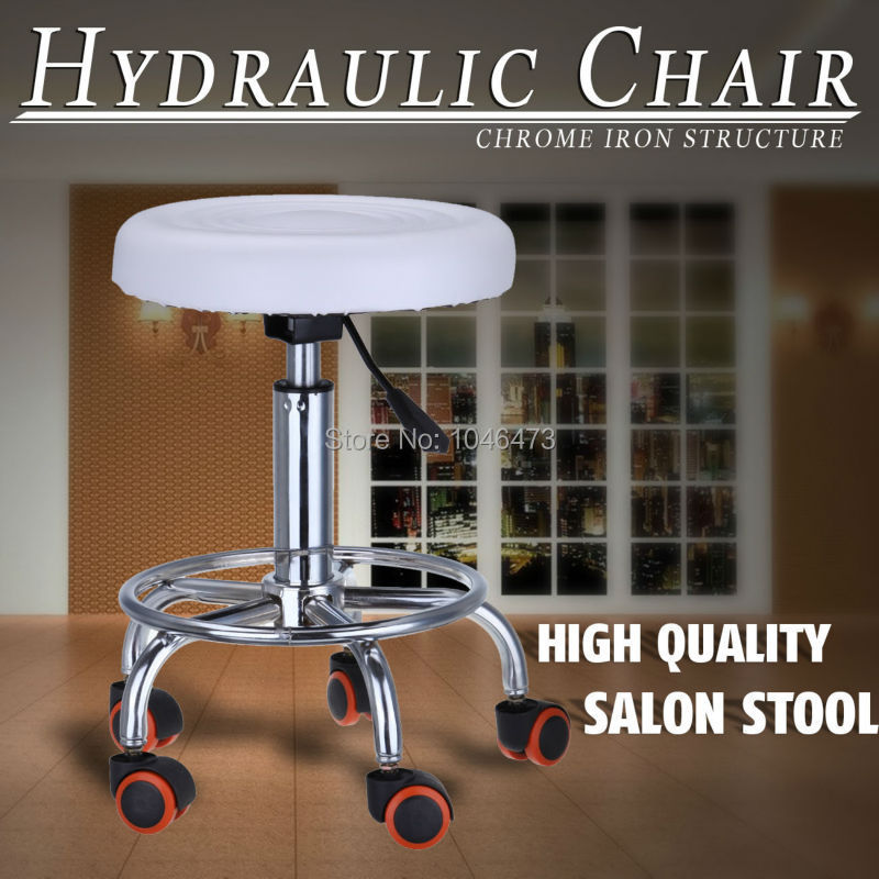 (Ship from Germany) Adjustable Swivel Lift Salon Chair Round Bar Spa Stool Barber Tattoo Nail Haircut the new salon haircut chair chair barber chair children hydraulic lifting chair