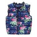 Los niños Calientes VestWinter prendas de Vestir Exteriores Abrigos de Flores Impresas Niños Chaleco Chaqueta de Algodón Cazadora Abrigos