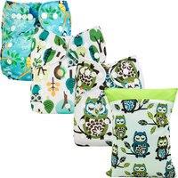 [Bomitoo]3Pcs Cloth Diapers Pocket With 3Pcs Microfiber Inserts + 1Pc Diaper Bag Carton Owl Baby Reusable Cloth Nappies