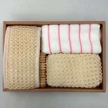 4 Items/set Wood Massage+Bath brush+Towel+Bath Luffah brush bathroom accessories bath set J1