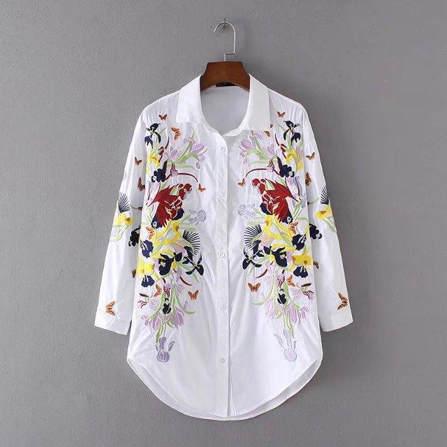 Chine Chemises À Bleu Rayé Longues Manches 2017 Chemisier Style Mode Floral Col Tops blanc De Montant Blouses Femmes Broderie Casual twqUU8O