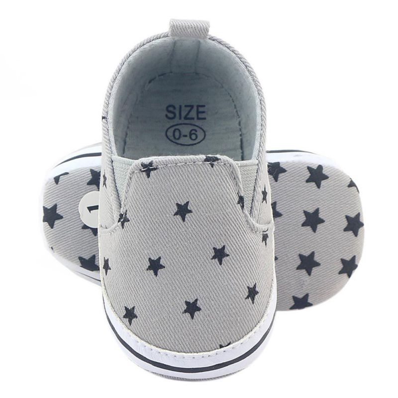0-18 Months Infant Prewalker Girls Kid Gray Star Print Soft Anti-Slip Crib Cotton Shoes ...