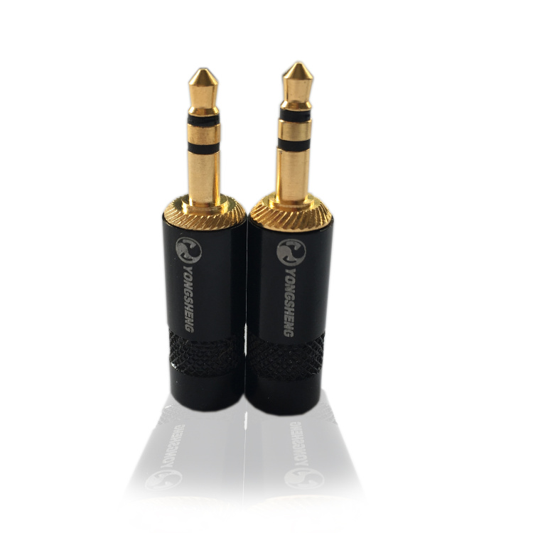 10pcs/Lot Made by Neutrik China factory YS231BG 3.5mm 3pole Mini Jack Plug Stereo OD4mm wire hole core by jack