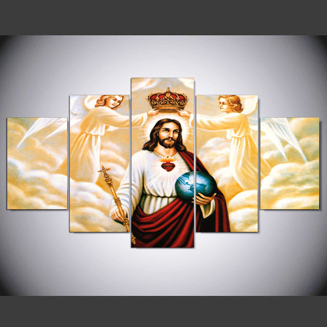 5 Pcs/Set HD Printed Inspirational Jesus Modern Wall Decor Poster ...