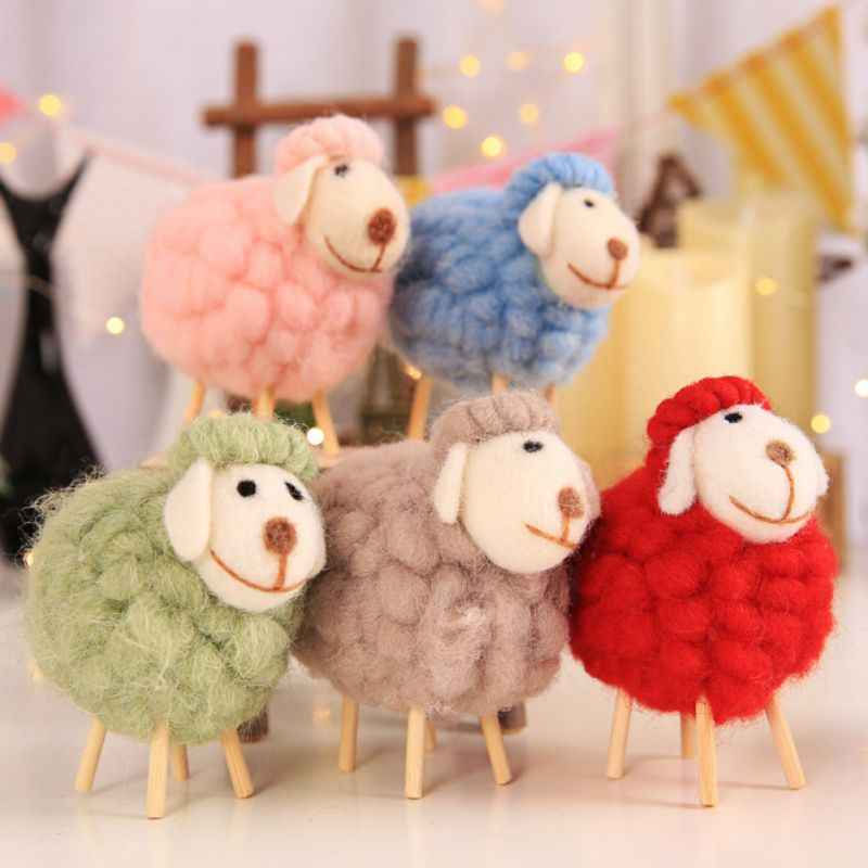 Cute Miniatures Wool Felt Sheep Stuffed Plush Animals Toys For Children Kids Room Decoration Ornament Figurines