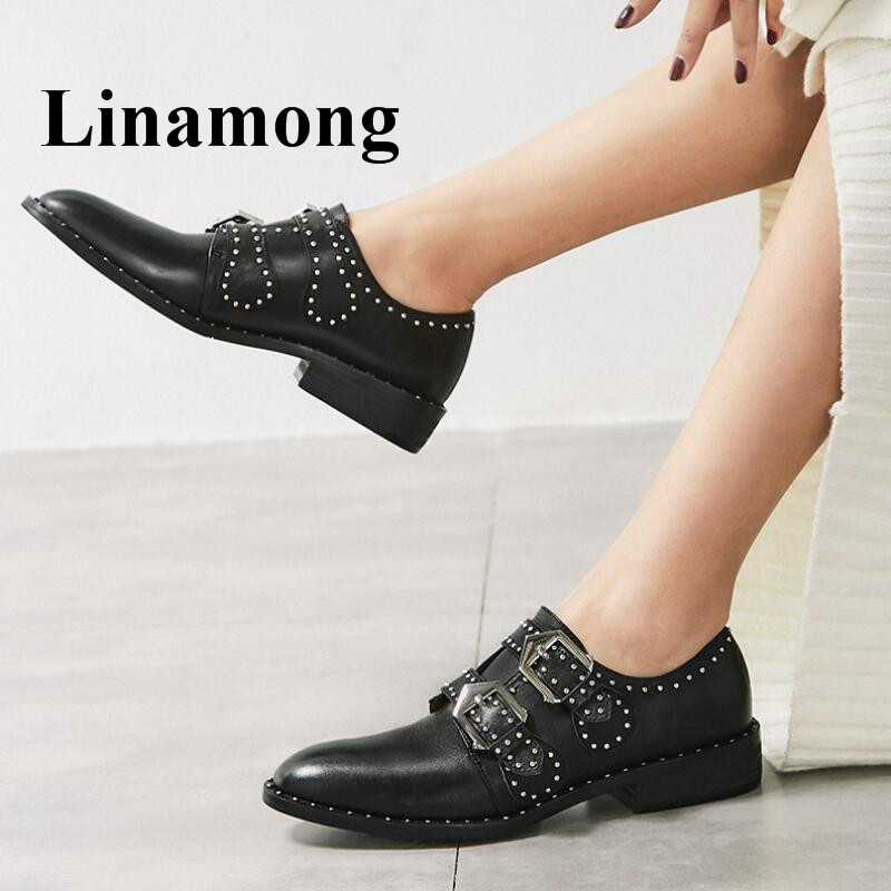цена на Solid Buckle Rivet Brogue Shoes Black And White Fashion Flat Pointed Toe Spring And Autumn Women Shoes Genuine Leather