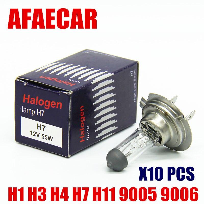 AFAECAR 10pcs 55w H7 12V H1 H3 H4 H8 H9 H11 Hb3 9005 HB4 9006 Car