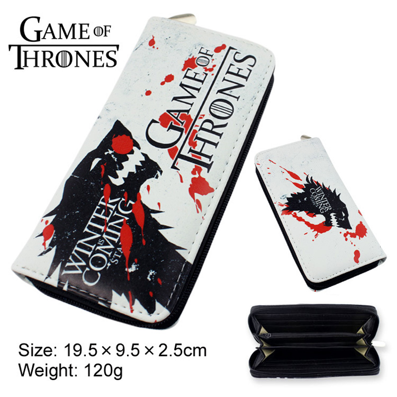 American TV Series Game of Thrones Multifunction Casual Long Wallet/Cell Phone Clutch Purse Printed with Symbol of House Stark game of thrones casual shoes women house stark winter is coming printed summer style superstar graffiti canvas shoes big size