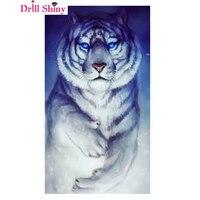 Kit Punto croce Tigre in bianco e Nero Animale Piazza Diamante Dipinti Immagine 5D FAI DA TE Decorazioni Di Natale Cristalli Ricamo