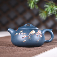 Yixing purple clay pot genuine hand made raw ore dark green mud painting bridge top pot Kungfu Teapot Set wholesale