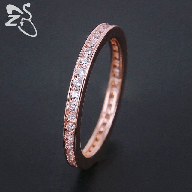 Zs Simple Engagement Ring Rose Gold Silver Color For Women Inlay Cubic