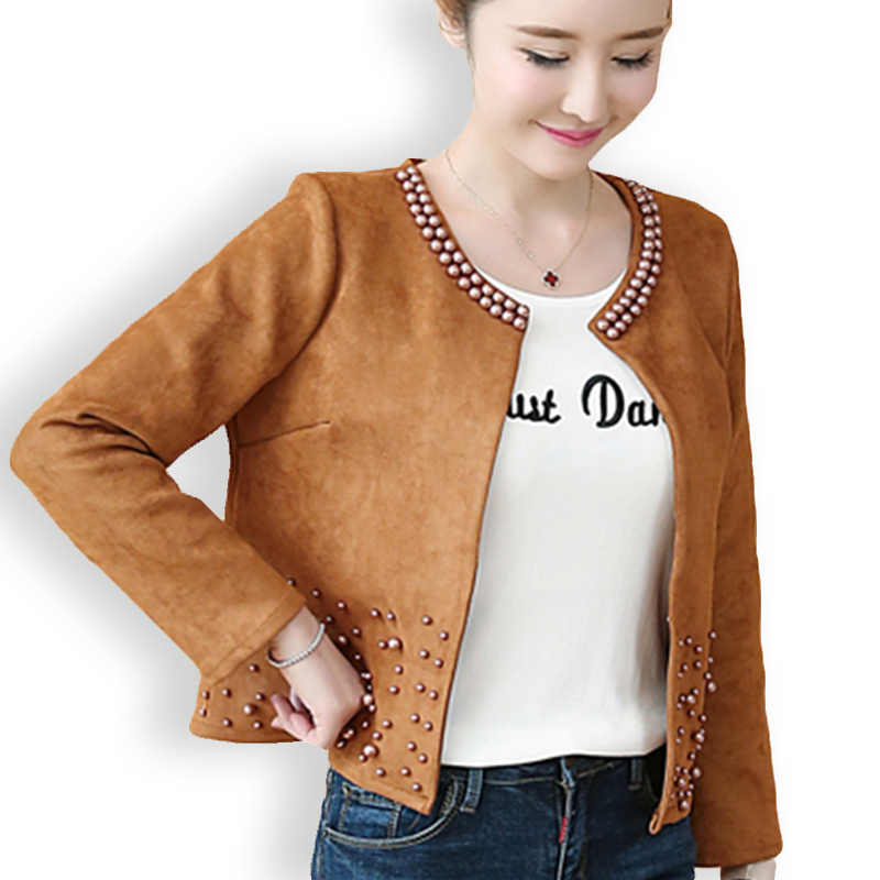 Spring Jacket Women Plus Size 4XL Basic Coat Deer Leather Rivet O-Neck Short Slim Pearls Jackets Open Stitch Casual Thin Outwear