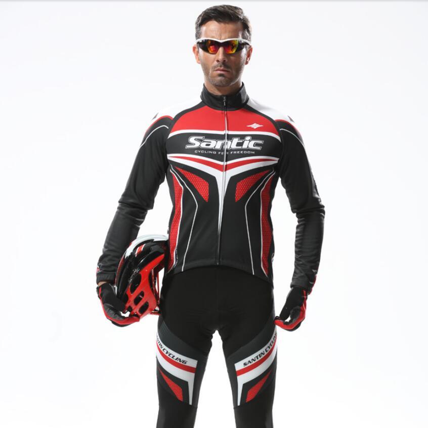 Santic Spring Long Sleeve Cycling Jersey Set Road Bike Clothing Cycling Suits Men Cycling Long Sleeve Sets WSM143F1001R  santic cycling men s downhill ridet shirt long jersey long sleeve white