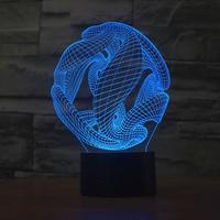 Criativo 3D ilusão Lâmpada Luz CONDUZIDA Da Noite Edifício 3D Acrílico Luz Descoloração Lâmpada Atmosfera Colorida Novidade Iluminação