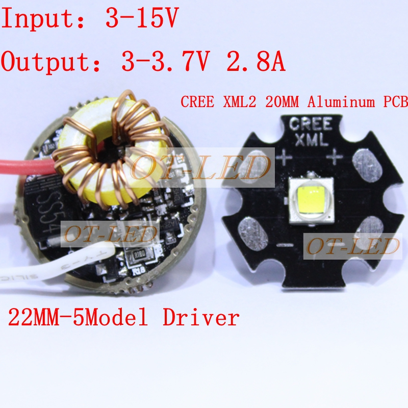 CREE XML2 LED XM-L2 T6 U2 10W WHITE Neutral White Warm White LED Emitter chip 20MM Aluminum PCB+Input 12V LED driver