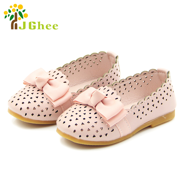 0fceb9a7be94e 2018 Summer Autumn Girls Shoes Kids Half Sandals Breathable Cut-outs With  Bow-knot Princess Children Flat Shoes Baby Girl