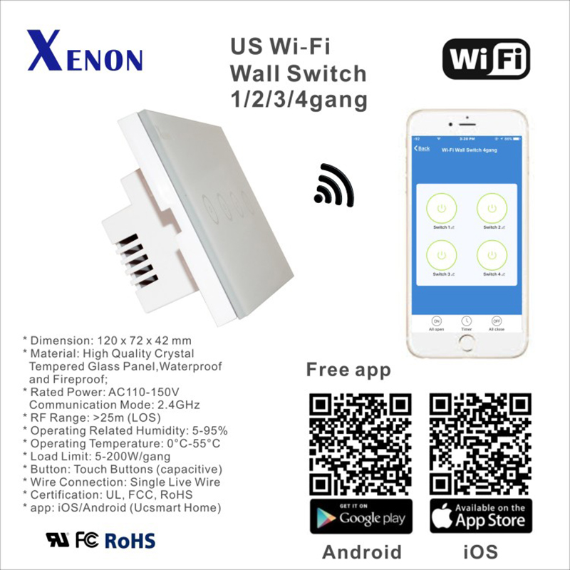 Manufacturer Xenon Wall Switch 110~240V Smart Wi Fi Switch Button ...
