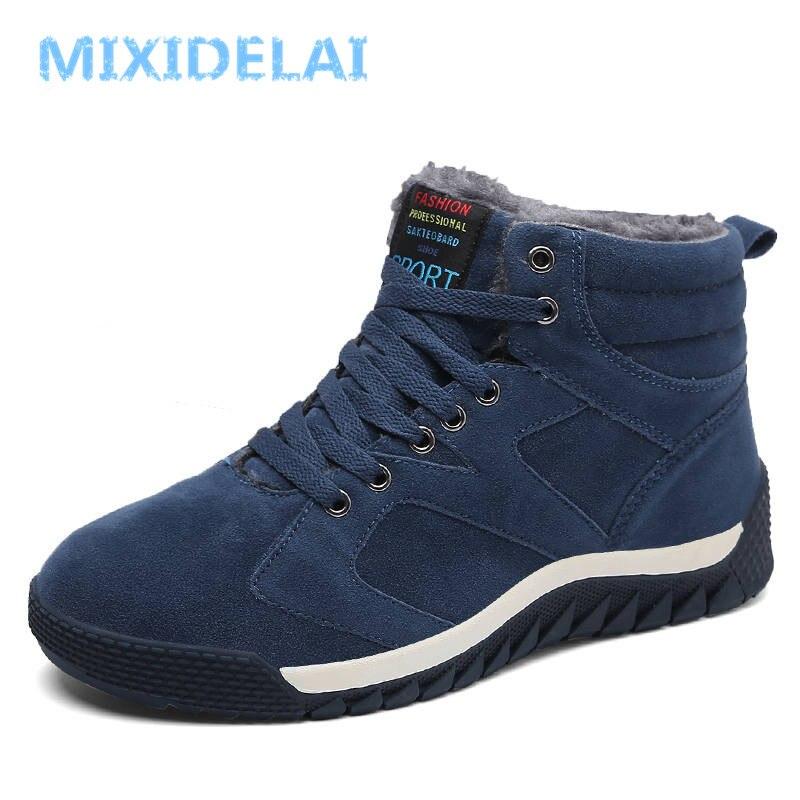 MIXIDELAI 2018 Men Boots Winter Boots Botas Hombre Winter Shoes Fur Lace Up Warm Snow Boots For Men Shoes Fashion Size 39-47