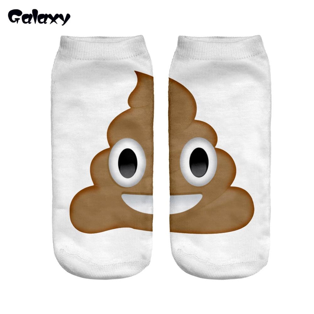 2016 Women Emoji Socks Summer Autumn Cute Harajuku Calcetiness Meias Sokken Calzini Poo Emoji Print Socks Funny Femme Hosiery