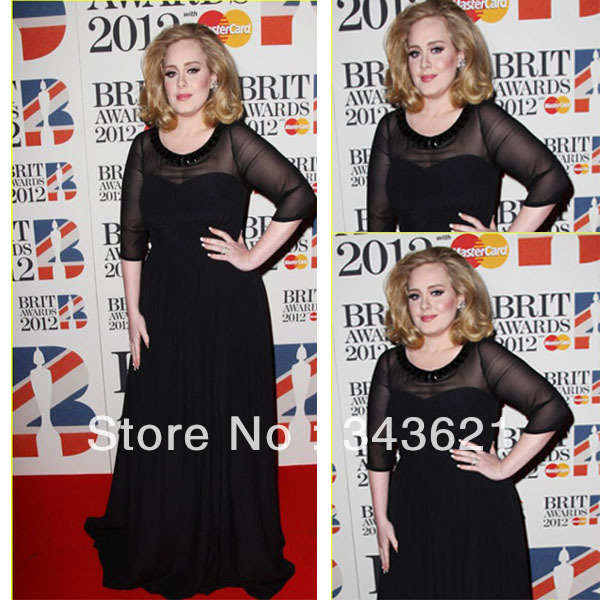 Adele Plus Size Evening Gowns Black 3/4 Sleeves Bateau See Through ...