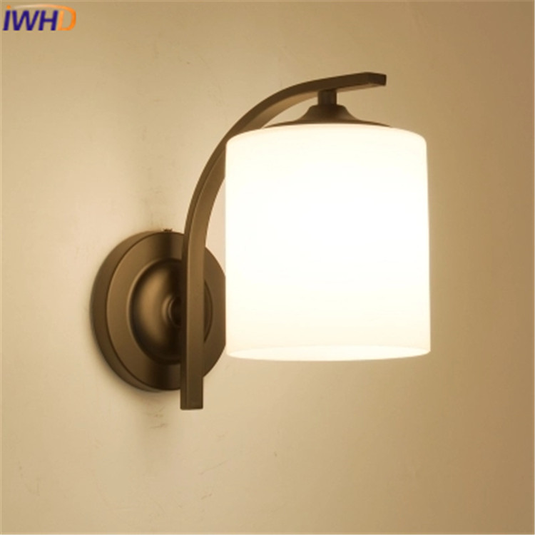 Modern Wall Lamp LED Creative Glass Wall Light Fixtures Simple Iron Black Wall Sconce Home Lighting Bedroom Wandlamp Lamparas 2 lights modern creative metal wall light simple glass shade wall sconces fixtures lighting for hallway bedroom bedside wl282 2