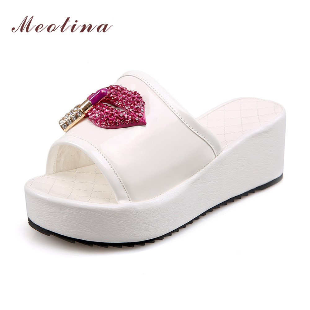 Meotina Wedges Shoes Women Summer Shoes Slippers 2018 Open Toe Platform Wedge Slides Shoes Women White Black Plus Size 9 10 43 meotina gladiator shoes 2018 women shoes