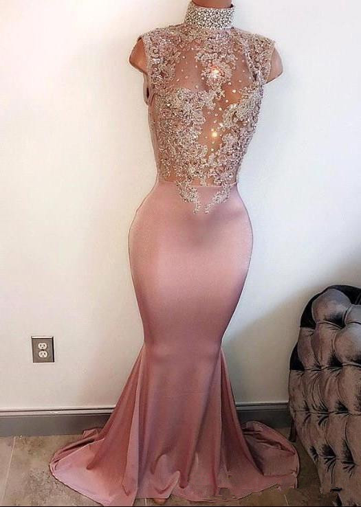See Through Robe De Soiree 2019 Mermaid High Collar Cap Sleeves Appliques Beaded Long   Prom     Dresses     Prom   Gown Evening   Dresses