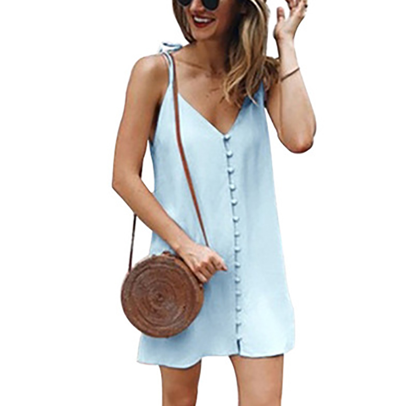 DORVIVON <font><b>5XL</b></font> Plus Size Dress Women 2019 Summer Beach Dresses <font><b>Sexy</b></font> Button V-Neck Spaghetti Strap Mini Girl Dress Vestidos <font><b>Mujer</b></font> image