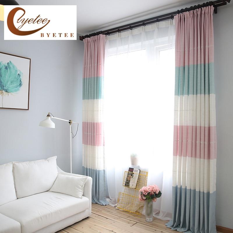 Byetee Modern Living Room Luxury Window Curtains Striped: [byetee] Window Curtain Modern Living Room Bedroom Cotton