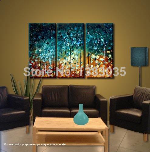 Hand Made Painting Trees Modern Abstract Oil Picture 3 Piece Canvas ...