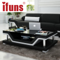 IFUNS Simple modern fashion glass coffee table Leather cover tea table for living room furniture